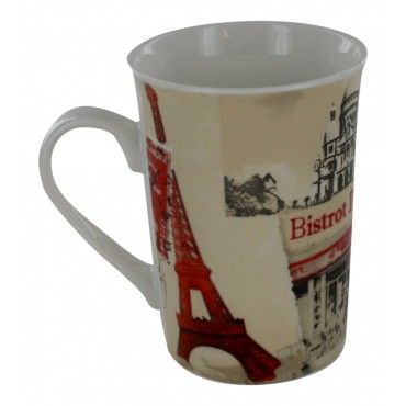 "Ceramic Mug, French vintage design ""Bistro parisien"""