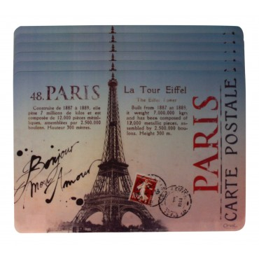 "Set of 6 rectangular plastic place mats, washable, French vintage design ""Paris Carte Postale"""