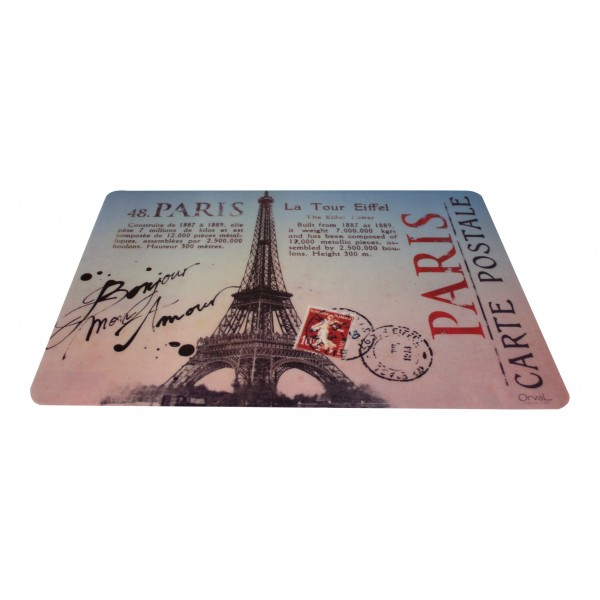 set of 6 rectangular plastic place mats washable french vintage design paris carte postale. Black Bedroom Furniture Sets. Home Design Ideas