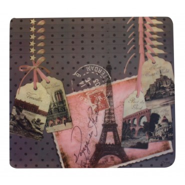 "Set of 6 rectangular plastic place mats, washable, French vintage design ""Voyage en France"""