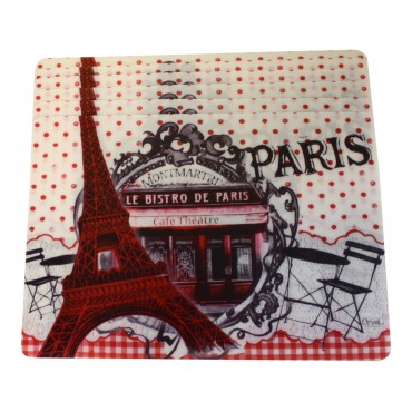 "Set of 6 rectangular plastic place mats, washable, French vintage design ""Bistro de Paris Montmartre"""