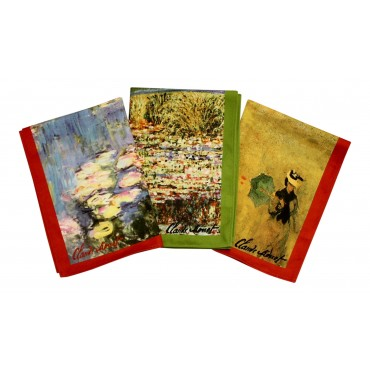 """Cotton Dish Towels - Set of 3 - French Design """"Monet"""" - Made in France"""
