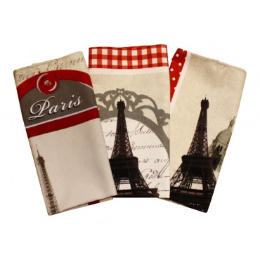 "Cotton Dish Towels - Set of 3 - French Vintage Design ""Paris"" - Made in France"