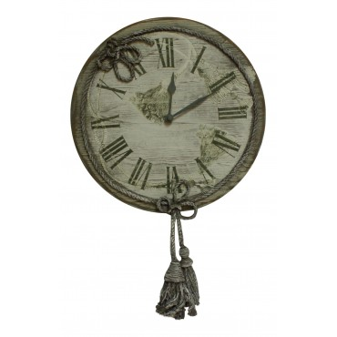 "Wooden 12"" Wall Clock , French vintage design ""Pompons"""