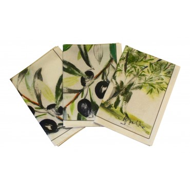 "Cotton Dish Towels - Set of 3 - French Vintage Design ""Olive"" - Made in France"
