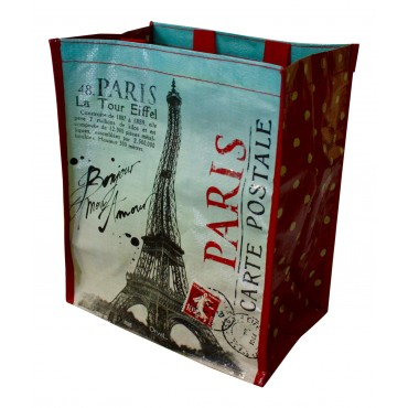 "Small Shopping Bag, French vintage design ""Paris Carte Postale"""