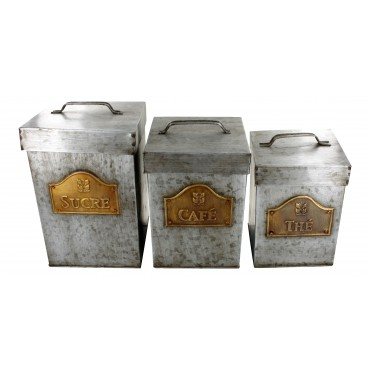 "Decorative storage boxes  - set of 3 - zinc, square - French vintage design ""The, cafe, sucre"""