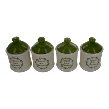 "Earthenware canister jars, set of 4, French vintage hand painted design ""epices"""