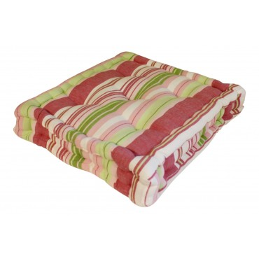 "Floor pillow, square, French elegant design ""Pink and Green"", 16"" x 16"""