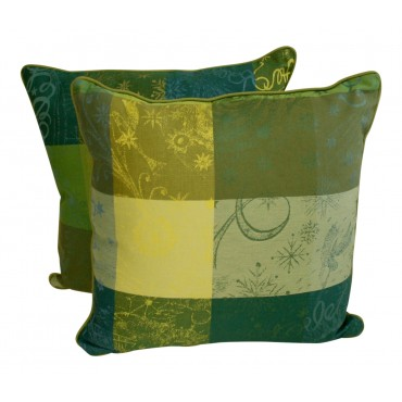 "Throw pillows, set of 2, square, French elegant design ""Lime"", 16"" x 16"""