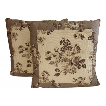 "Throw pillows, set of 2, square, French elegant design ""Elodie"", 16"" x 16"""