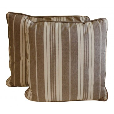 "Throw pillows, set of 2, square, French elegant design ""Elodie striped"", 16"" x 16"""