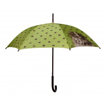 "Automatic wooden stick umbrella with shoulder bag, French vintage design ""Chat couronne"""