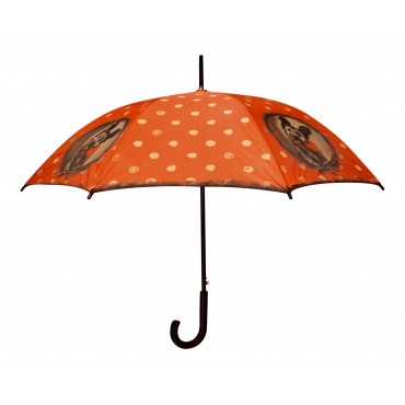 "Automatic wooden stick umbrella with shoulder bag, French vintage design ""Surprise"""