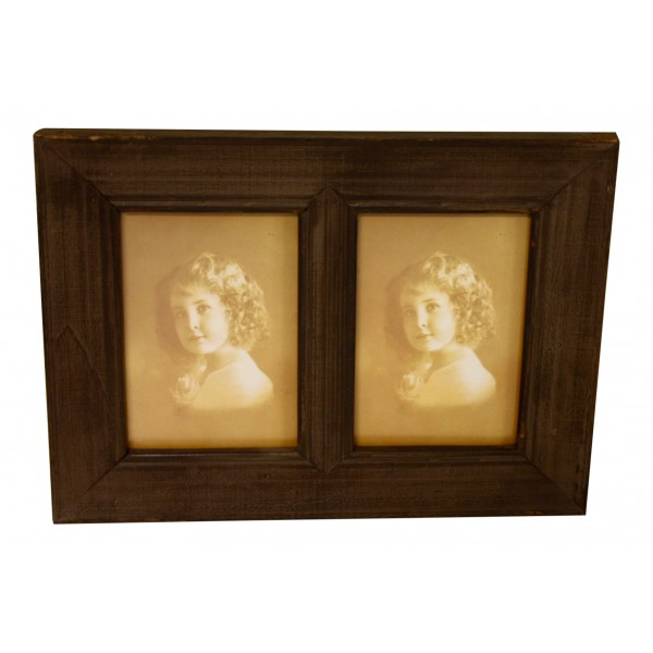 Wooden Decorative Double Frame, French Vintage Design \
