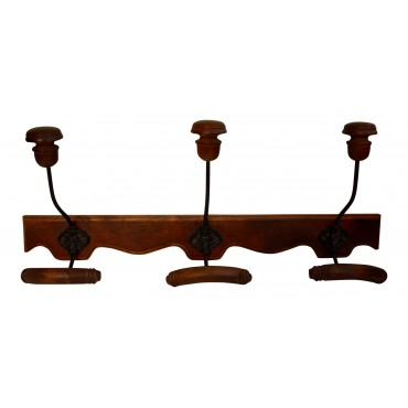 "Wall mounted Wooden coat and hat rack, 3 hooks, French vintage design ""Fleur"""