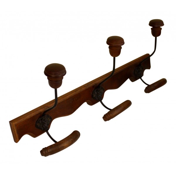 Wall mounted Wooden coat and hat rack, 3 hooks, French vintage design