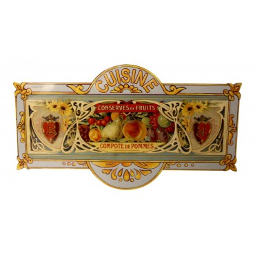 "Metal sign, 8"" x 4.5"", French vintage design ""Cuisine, conserve de Fruits"""
