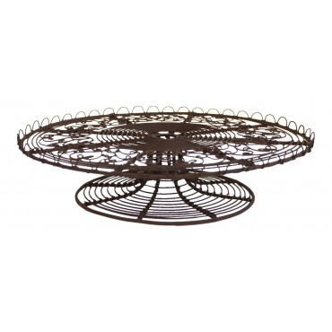 "Dark brown Metal Cake Stand - French Vintage Design ""Arabesque"""