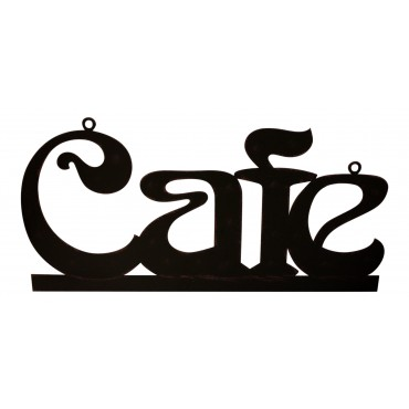 "Metal Sign, French vintage design ""Cafe"", Dark brown color, 15"" x 7"""