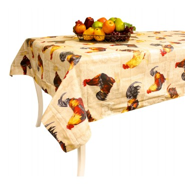 "French large Tablecloth - ""Rooster"" - Beige -  138"" x 63"" - 100% coated cotton - Made in France -"