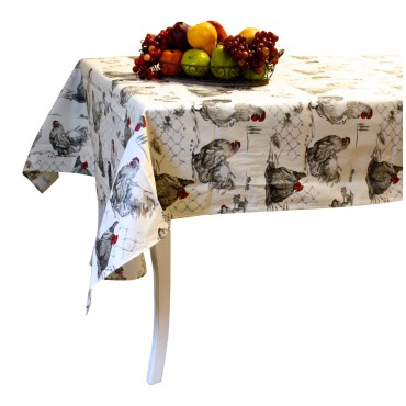 "French Tablecloth - ""Rooster and Hen"" - Beige -  138"" x 63"" - 100% coated cotton - Made in France -"