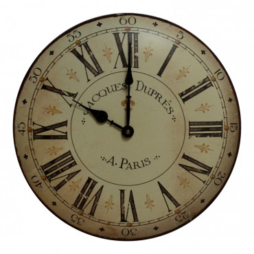 "Metal Wall Clock, French vintage design ""A Paris"" , 14"""
