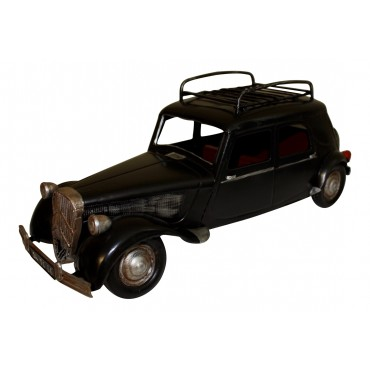 "Retro car model, black metal, French vintage design ""traction avant"""