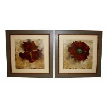 "Paintings for wall with frame, set of 2, French elegant design ""Fleurs Rouges"""