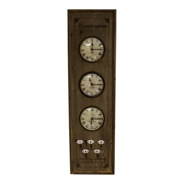 """World time zone clock, light brown wood, French vintage design """"Conciergerie"""""""