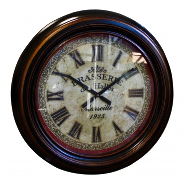 "Large Wall clock, dark brown wood, French vintage design ""Brasserie des Halles"""