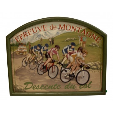 "Wooden Wall Art Decor, French vintage design ""Tour de France, epreuve de Montagne"""