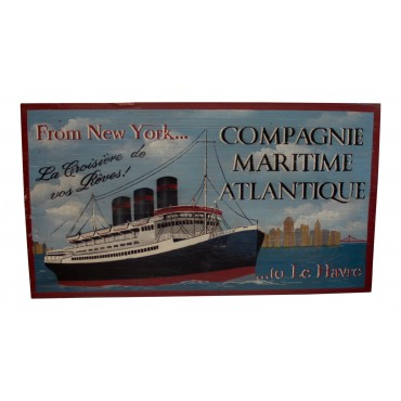 "Wooden Wall Art Decor, French vintage design ""Compagnie Maritime Atlantique"""