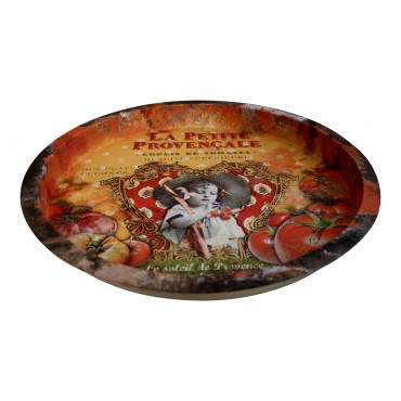 "Metal Round Serving Tray, French vintage design ""La Petite Provencale"""