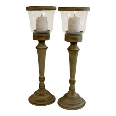 "Painted metal Candle Stand Holders, set of 2, French Design ""Arabesque"""