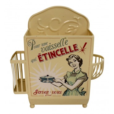"Painted metal Kitchen Sink Caddy Organizer,  French vintage design ""Vaisselle Etincelle"""