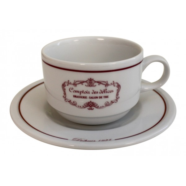 Coffee Cups And Saucers Set Of 4 White French Vintage Design Comptoir Des Delices