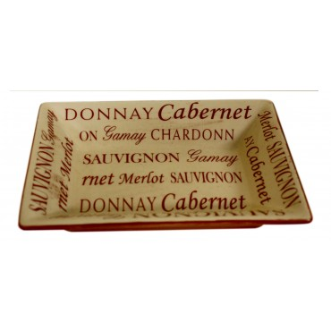 "Ivory small valet tray, Rectangular, French vintage design ""Cabernet Sauvignon"""