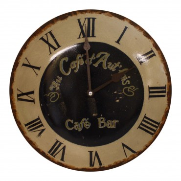 "Metal Wall Clock, French vintage design ""Au cafe d'Autrefois"" - 13"""