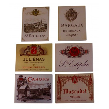 "Set of 6 fridge magnets,  French vintage design ""Vins Francais"""