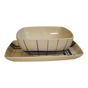 "Salad bowl and serving platter set, Ceramic, French vintage design ""Carreaux"""