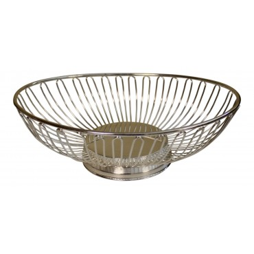 Silver Plated Fruit bowl, oval shape, metal, French elegant style