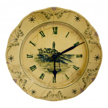 "Ceramic Wall Clock, French vintage design ""Bord de Mer"", 10"""