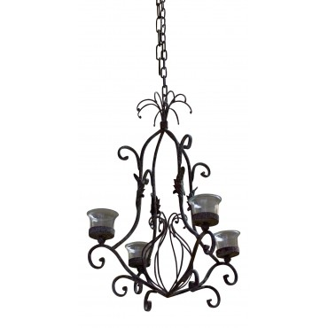 "Candle Chandelier, 4 candles, French vintage style ""feuilles"""