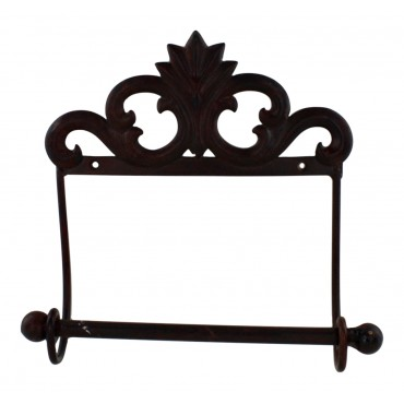 "Brown Metal wall mounted toilet paper holder - French vintage design ""Fleur de lys"""