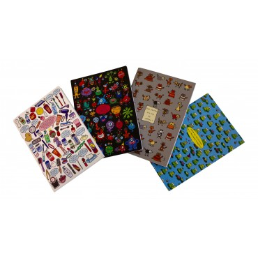 "Set of 4 humorous pocket notebooks, 4 different French designs ""Ou es-tu cache ?"", 6"" x 4"""