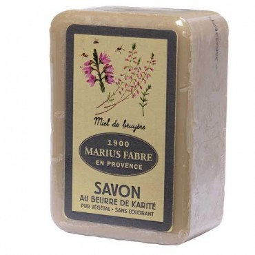 "Savon de Marseille, 8.8 oz, all natural vegetable oils, fragrance ""miel de bruyere"" (heather honey)"
