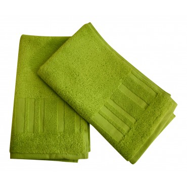 Set of 2 Bathroom hand towels, 100% combed cotton, neon green
