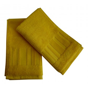 Set of 2 Bathroom hand towels, 100% combed cotton, yellow