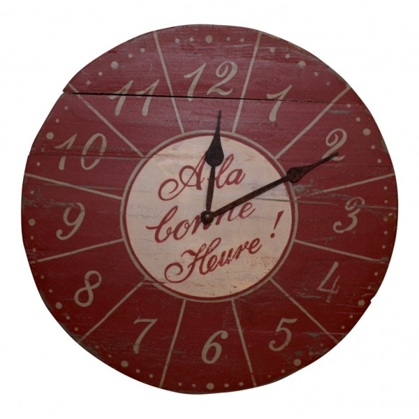 """13 1/2"""" Wooden Wall Clock , French vintage design """"A la ..."""